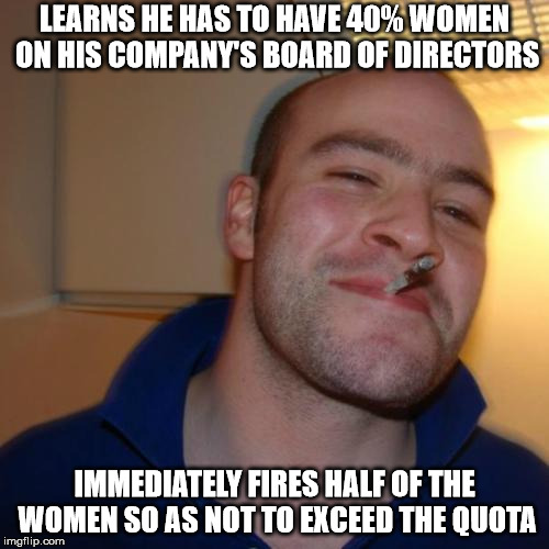Yes, woman quotas have been discussed both in the EU and in several member states | LEARNS HE HAS TO HAVE 40% WOMEN ON HIS COMPANY'S BOARD OF DIRECTORS IMMEDIATELY FIRES HALF OF THE WOMEN SO AS NOT TO EXCEED THE QUOTA | image tagged in memes,good guy greg | made w/ Imgflip meme maker