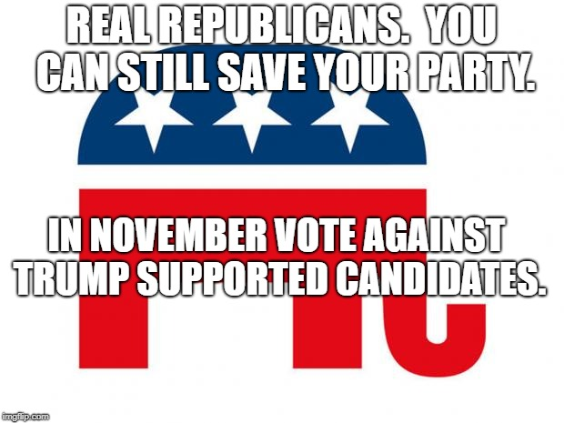 GOP LOGO | REAL REPUBLICANS.  YOU CAN STILL SAVE YOUR PARTY. IN NOVEMBER VOTE AGAINST TRUMP SUPPORTED CANDIDATES. | image tagged in gop logo | made w/ Imgflip meme maker