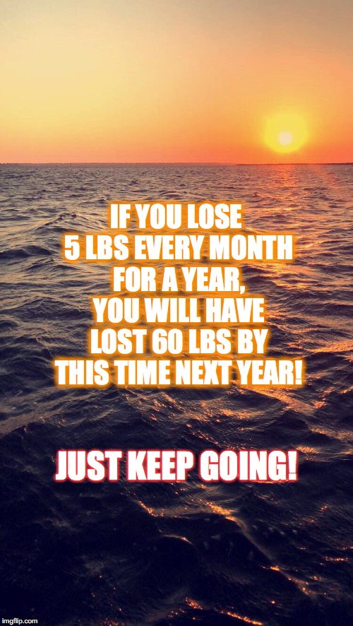 WEIGHT LOSS | JUST KEEP GOING! IF YOU LOSE 5 LBS EVERY MONTH FOR A YEAR, YOU WILL HAVE LOST 60 LBS BY THIS TIME NEXT YEAR! | image tagged in weight loss | made w/ Imgflip meme maker