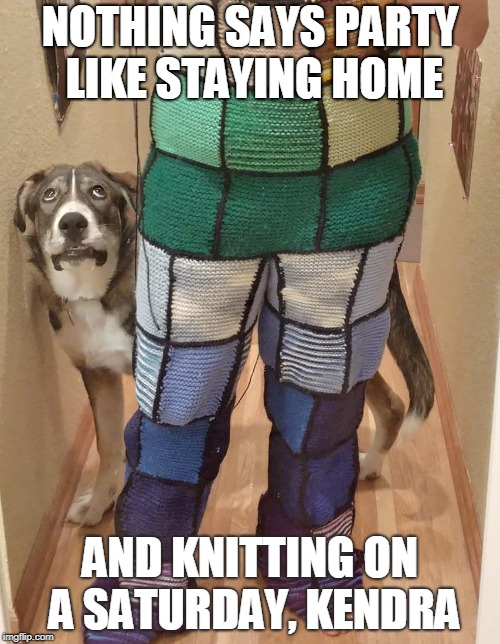 Saturday knitting | NOTHING SAYS PARTY LIKE STAYING HOME AND KNITTING ON A SATURDAY, KENDRA | image tagged in saturday | made w/ Imgflip meme maker