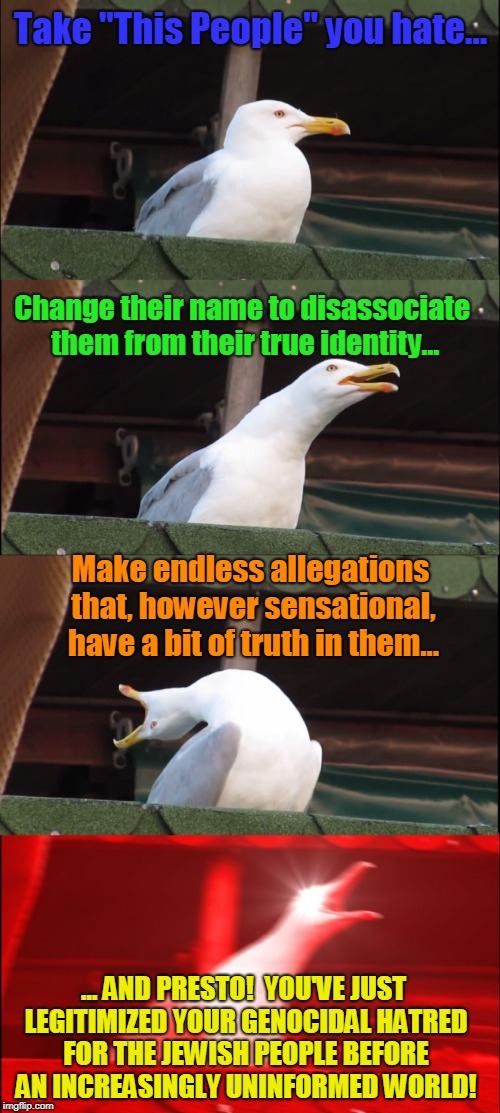 "Inhaling Seagull | Take ""This People"" you hate... Change their name to disassociate them from their true identity... Make endless allegations that, however sen 