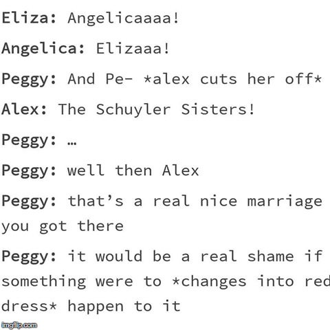 "Peggy gets like zero attention her only line is ""and Peggy"" 