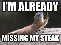 Prairie dog reaching | I'M ALREADY MISSING MY STEAK | image tagged in prairie dog reaching | made w/ Imgflip meme maker