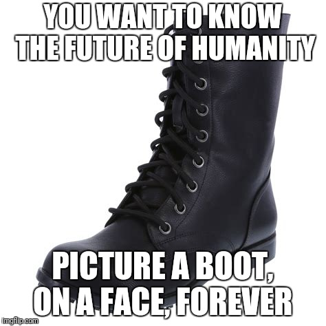 YOU WANT TO KNOW THE FUTURE OF HUMANITY PICTURE A BOOT, ON A FACE, FOREVER | image tagged in boots | made w/ Imgflip meme maker