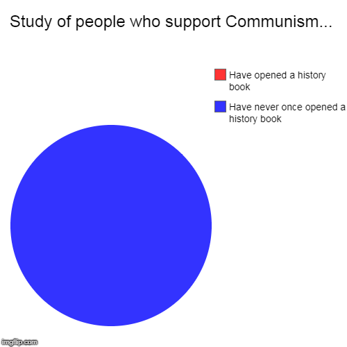 Important Study... | Study of people who support Communism... | Have never once opened a history book, Have opened a history book | image tagged in pie charts,communism,history book,have not | made w/ Imgflip pie chart maker