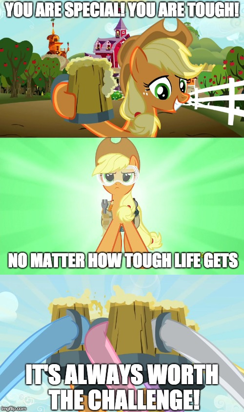 A very special message! | YOU ARE SPECIAL! YOU ARE TOUGH! NO MATTER HOW TOUGH LIFE GETS IT'S ALWAYS WORTH THE CHALLENGE! | image tagged in memes,applejack and her cider,applejack repair pony,cheers mlp,special message,xanderbrony | made w/ Imgflip meme maker