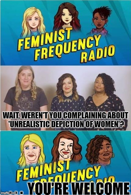Fixed it for you, ladies. | WAIT, WEREN'T YOU COMPLAINING ABOUT 'UNREALISTIC DEPICTION OF WOMEN'? YOU'RE WELCOME . . . | image tagged in anita sarkeesian,gamergate,feminism | made w/ Imgflip meme maker