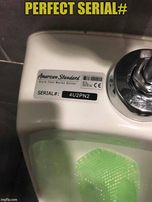 For you to Pee into | PERFECT SERIAL# | image tagged in urinal,serial number,pipe_picasso | made w/ Imgflip meme maker