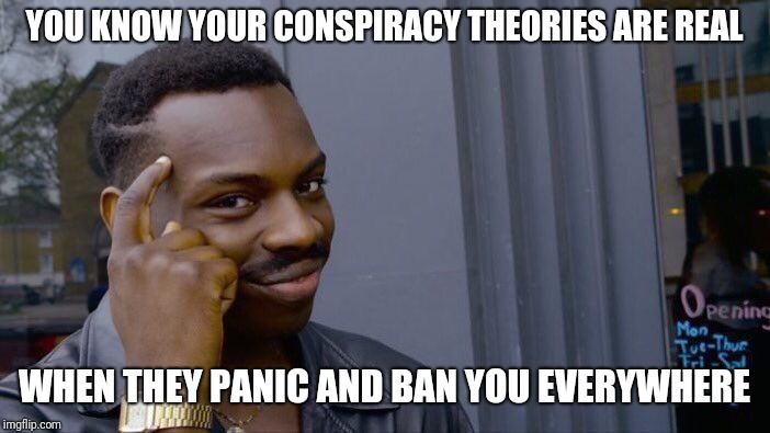 Roll Safe Think About It | YOU KNOW YOUR CONSPIRACY THEORIES ARE REAL WHEN THEY PANIC AND BAN YOU EVERYWHERE | image tagged in memes,roll safe think about it,alex jones,infowars,censorship,censored | made w/ Imgflip meme maker