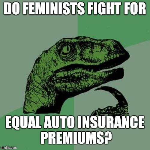 Philosoraptor | DO FEMINISTS FIGHT FOR EQUAL AUTO INSURANCE PREMIUMS? | image tagged in memes,philosoraptor | made w/ Imgflip meme maker