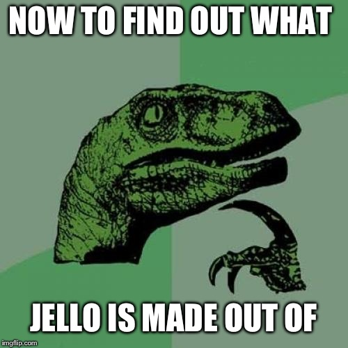 Philosoraptor | NOW TO FIND OUT WHAT JELLO IS MADE OUT OF | image tagged in memes,philosoraptor | made w/ Imgflip meme maker