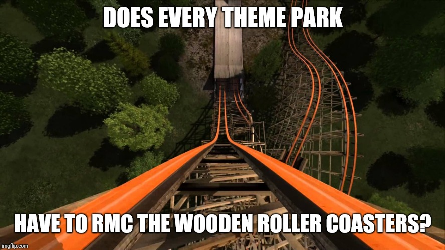 roller coaster | DOES EVERY THEME PARK HAVE TO RMC THE WOODEN ROLLER COASTERS? | image tagged in roller coaster,six flags,rmc,memes | made w/ Imgflip meme maker