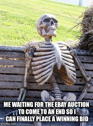 Waiting Skeleton | ME WAITING FOR THE EBAY AUCTION TO COME TO AN END SO I CAN FINALLY PLACE A WINNING BID | image tagged in memes,waiting skeleton | made w/ Imgflip meme maker