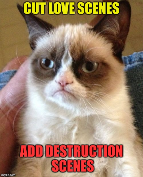 Grumpy Cat Meme | CUT LOVE SCENES ADD DESTRUCTION SCENES | image tagged in memes,grumpy cat | made w/ Imgflip meme maker