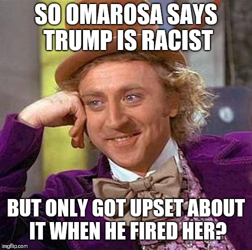 Creepy Condescending Wonka Meme | SO OMAROSA SAYS TRUMP IS RACIST BUT ONLY GOT UPSET ABOUT IT WHEN HE FIRED HER? | image tagged in memes,creepy condescending wonka | made w/ Imgflip meme maker