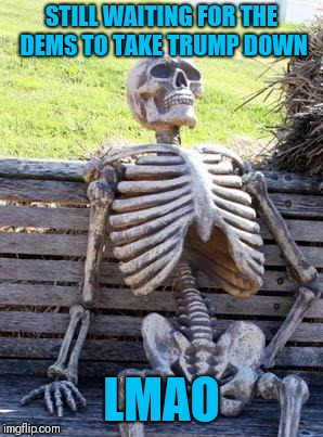 Waiting Skeleton | STILL WAITING FOR THE DEMS TO TAKE TRUMP DOWN LMAO | image tagged in memes,waiting skeleton | made w/ Imgflip meme maker