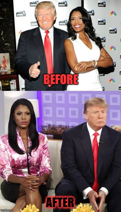 Breaking Up Is Hard To Do | BEFORE AFTER | image tagged in trump,omarosa,breakup | made w/ Imgflip meme maker