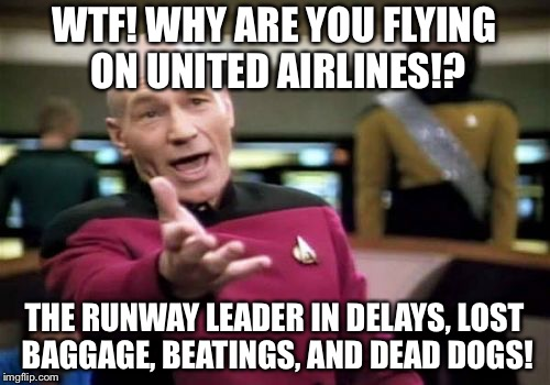 Not so friendly skies | WTF! WHY ARE YOU FLYING ON UNITED AIRLINES!? THE RUNWAY LEADER IN DELAYS, LOST BAGGAGE, BEATINGS, AND DEAD DOGS! | image tagged in memes,picard wtf,united airlines,dogs,attack,bag | made w/ Imgflip meme maker