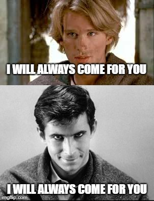 Facial expressions make a difference |  I WILL ALWAYS COME FOR YOU; I WILL ALWAYS COME FOR YOU | image tagged in princess bride,psycho | made w/ Imgflip meme maker