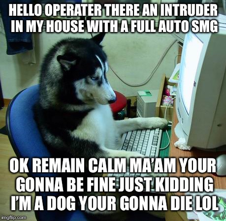 I Have No Idea What I Am Doing | HELLO OPERATER THERE AN INTRUDER IN MY HOUSE WITH A FULL AUTO SMG OK REMAIN CALM MA'AM YOUR GONNA BE FINEJUST KIDDING I'M A DOG YOUR GONNA  | image tagged in memes,i have no idea what i am doing | made w/ Imgflip meme maker