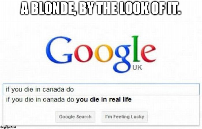 A BLONDE, BY THE LOOK OF IT. | made w/ Imgflip meme maker