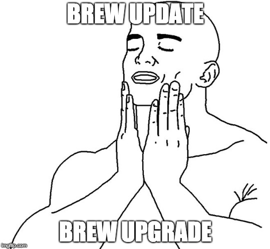 Satisfaction |  BREW UPDATE; BREW UPGRADE | image tagged in satisfaction,mac | made w/ Imgflip meme maker