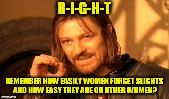One Does Not Simply Meme | R-I-G-H-T REMEMBER HOW EASILY WOMEN FORGET SLIGHTS AND HOW EASY THEY ARE ON OTHER WOMEN? | image tagged in memes,one does not simply | made w/ Imgflip meme maker