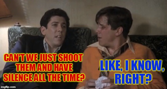 Forget it, he's rolling. | CAN'T WE JUST SHOOT THEM AND HAVE SILENCE ALL THE TIME? LIKE, I KNOW, RIGHT? | image tagged in forget it,he's rolling | made w/ Imgflip meme maker