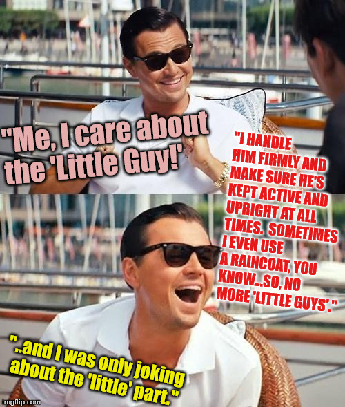 "Leonardo Dicaprio Wolf Of Wall Street | ""Me, I care about the 'Little Guy!' ""I HANDLE HIM FIRMLY AND MAKE SURE HE'S KEPT ACTIVE AND UPRIGHT AT ALL TIMES.  SOMETIMES I EVEN USE A RA 