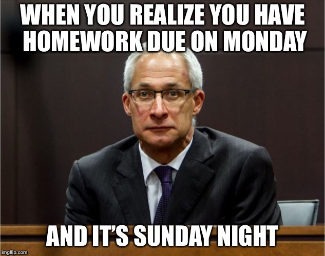 Sunday Night Blues | WHEN YOU REALIZE YOU HAVE HOMEWORK DUE ON MONDAY AND IT'S SUNDAY NIGHT | image tagged in dirk huyer face,school,memes,monday,procrastination,funny | made w/ Imgflip meme maker
