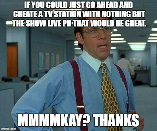 That Would Be Great | IF YOU COULD JUST GO AHEAD AND CREATE A TV STATION WITH NOTHING BUT THE SHOW LIVE PD THAT WOULD BE GREAT. MMMMKAY? THANKS | image tagged in memes,that would be great | made w/ Imgflip meme maker