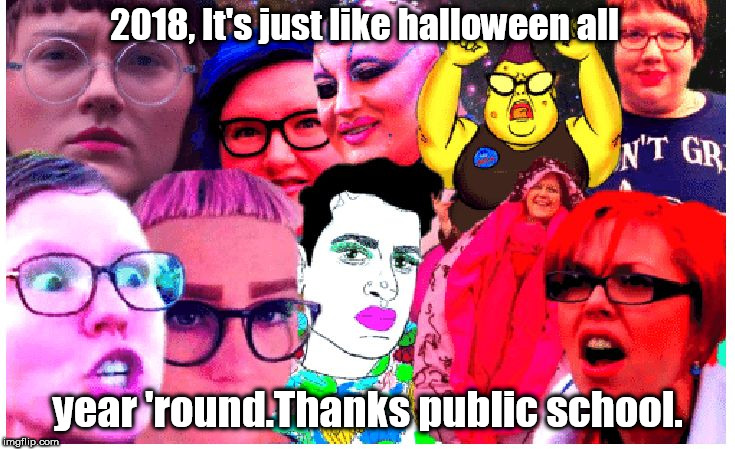 like halloween all year 'round,thanks public school. damn freaks. | 2018, It's just like halloween all year 'round.Thanks public school. | image tagged in freaks,sjws,commies,ranting feminists | made w/ Imgflip meme maker
