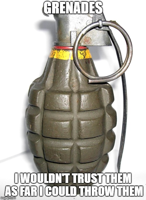 You've got to hand it to the grenades. | GRENADES I WOULDN'T TRUST THEM AS FAR I COULD THROW THEM | image tagged in grenade,puns,memes | made w/ Imgflip meme maker