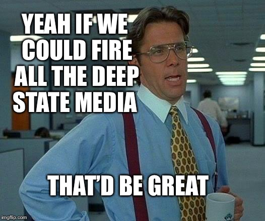 That Would Be Great | YEAH IF WE COULD FIRE ALL THE DEEP STATE MEDIA THAT'D BE GREAT | image tagged in memes,that would be great | made w/ Imgflip meme maker
