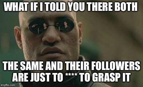 Matrix Morpheus Meme | WHAT IF I TOLD YOU THERE BOTH THE SAME AND THEIR FOLLOWERS ARE JUST TO **** TO GRASP IT | image tagged in memes,matrix morpheus | made w/ Imgflip meme maker