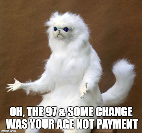 Persian white monkey |  OH, THE 97 & SOME CHANGE WAS YOUR AGE NOT PAYMENT | image tagged in persian white monkey | made w/ Imgflip meme maker