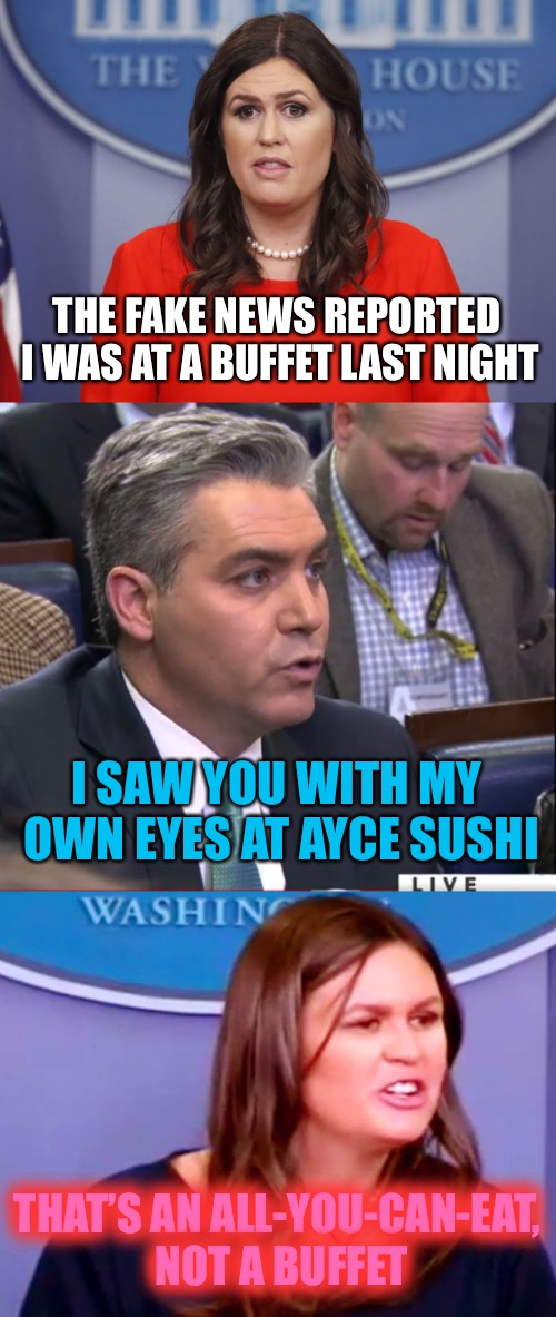 THE FAKE NEWS REPORTED I WAS AT A BUFFET LAST NIGHT I SAW YOU WITH MY OWN EYES AT AYCE SUSHI THAT'S AN ALL-YOU-CAN-EAT, NOT A BUFFET | image tagged in memes,sarah huckabee sanders,jim acosta | made w/ Imgflip meme maker