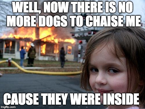 Disaster Girl | WELL, NOW THERE IS NO MORE DOGS TO CHAISE ME CAUSE THEY WERE INSIDE | image tagged in memes,disaster girl | made w/ Imgflip meme maker