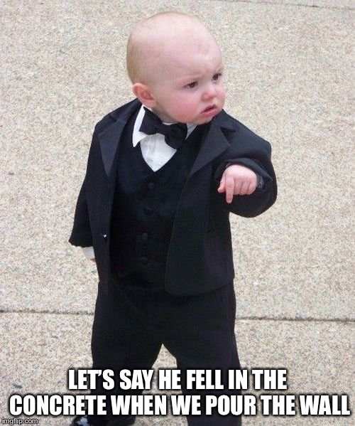 Baby Godfather Meme | LET'S SAY HE FELL IN THE CONCRETE WHEN WE POUR THE WALL | image tagged in memes,baby godfather | made w/ Imgflip meme maker