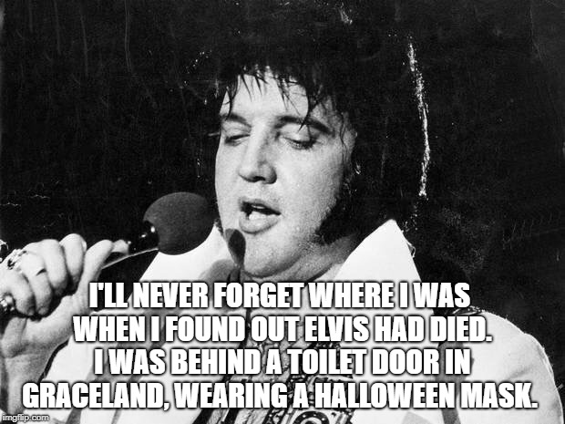 Elvis | I'LL NEVER FORGET WHERE I WAS WHEN I FOUND OUT ELVIS HAD DIED. I WAS BEHIND A TOILET DOOR IN GRACELAND, WEARING A HALLOWEEN MASK. | image tagged in elvis | made w/ Imgflip meme maker