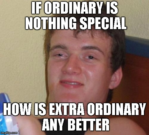 10 Guy |  IF ORDINARY IS NOTHING SPECIAL; HOW IS EXTRA ORDINARY ANY BETTER | image tagged in 10 guy,stupid,ordinary,smart,special kind of stupid,philosoraptor | made w/ Imgflip meme maker
