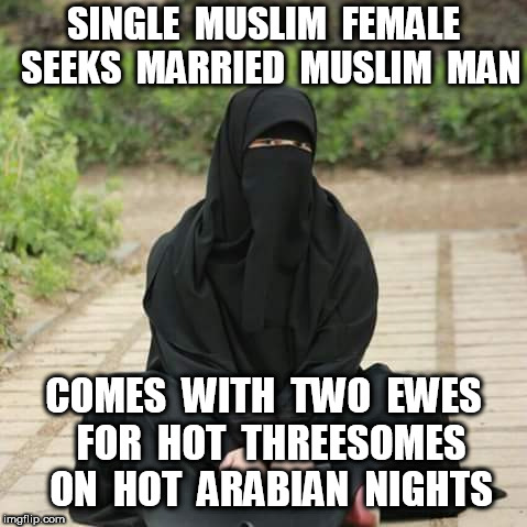 Muslim Personal Ad | SINGLE  MUSLIM  FEMALE  SEEKS  MARRIED  MUSLIM  MAN COMES  WITH  TWO  EWES  FOR  HOT  THREESOMES  ON  HOT  ARABIAN  NIGHTS | image tagged in muslim | made w/ Imgflip meme maker