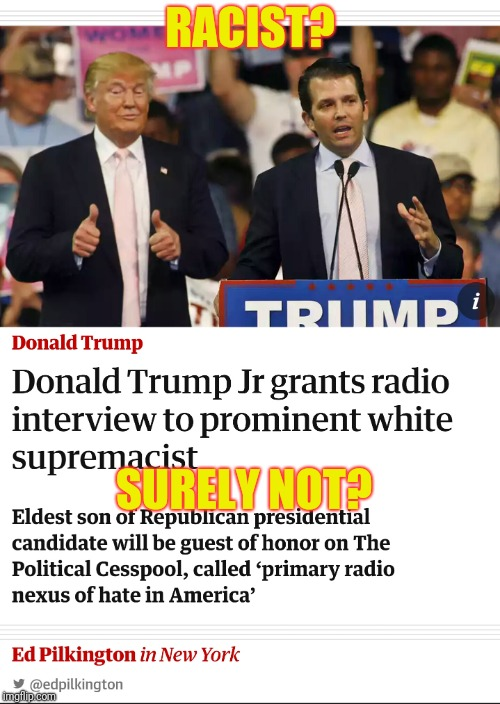 Still trying to deny Trump's support for racists? | RACIST? SURELY NOT? | image tagged in racist,trump,white supremacists | made w/ Imgflip meme maker