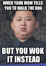 Kim Jong Un | WHEN YOUR MOM TELLS YOU TO WALK THE DOG BUT YOU WOK IT INSTEAD | image tagged in kim jong un | made w/ Imgflip meme maker