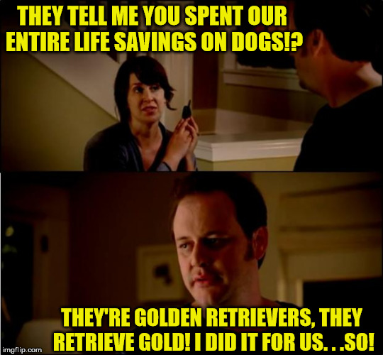 But I was 99.99% sure about this! | THEY TELL ME YOU SPENT OUR ENTIRE LIFE SAVINGS ON DOGS!? THEY'RE GOLDEN RETRIEVERS, THEY RETRIEVE GOLD! I DID IT FOR US. . .SO! | image tagged in jake from state farm,memes,golden retriever | made w/ Imgflip meme maker