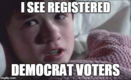 I See Dead People Meme | I SEE REGISTERED DEMOCRAT VOTERS | image tagged in memes,i see dead people | made w/ Imgflip meme maker