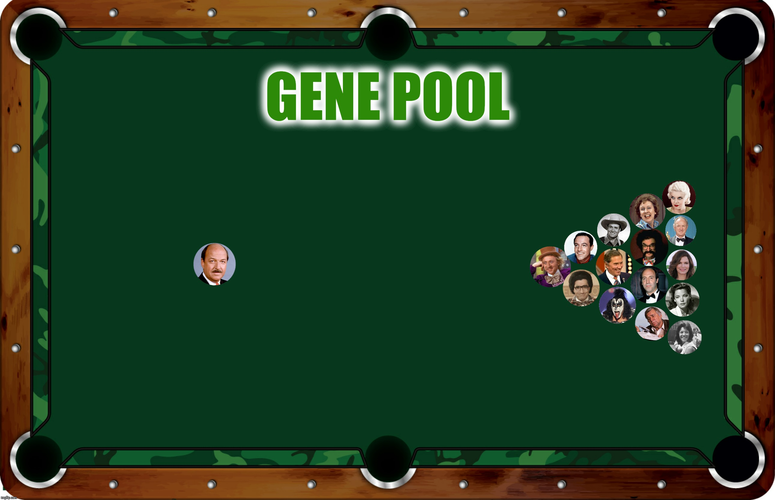Bad Photoshop Sunday presents:  How many can you name? | GENE POOL | image tagged in bad photoshop sunday,pool,gene,jean,jeanne | made w/ Imgflip meme maker
