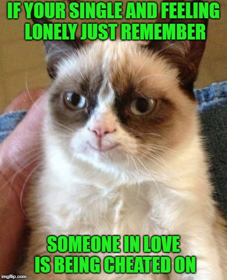 A little consolation for us single people...LOL | IF YOUR SINGLE AND FEELING LONELY JUST REMEMBER SOMEONE IN LOVE IS BEING CHEATED ON | image tagged in grumpy cat smile,memes,relationships,funny,better off single,cheaters | made w/ Imgflip meme maker