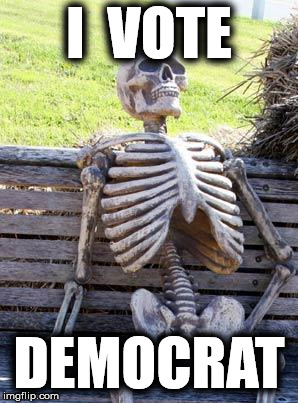 Waiting Skeleton Meme | I  VOTE DEMOCRAT | image tagged in memes,waiting skeleton | made w/ Imgflip meme maker