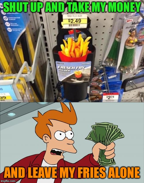 Is this a gag product? | SHUT UP AND TAKE MY MONEY AND LEAVE MY FRIES ALONE | image tagged in futurama fry,french fries,memes,funny | made w/ Imgflip meme maker